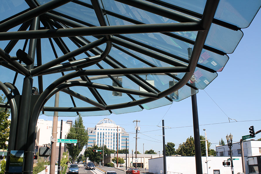 Project: Oregon Convention Center Ticket Canopy<br /> Architect: Zimmer Gunsul Frasca Partnership<br /> GC: Hoffman Construction<br /> Location: Portland, OR<br />